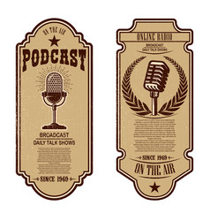 Set of vintage podcast radio flyers with vector