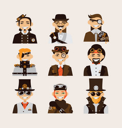 set with steampunk men portraits smiling faces vector image
