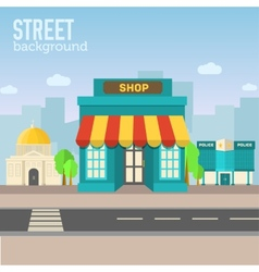 Shop building in city space with road vector