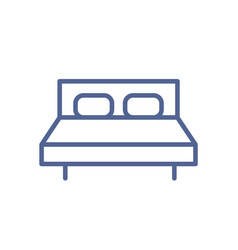 simple double bed icon with mattress and pillows vector image