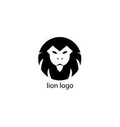 simple lion logo black and white circle design vector image
