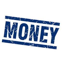 square grunge blue money stamp vector image