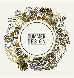 summer black and gold hand drawn round thin line vector image