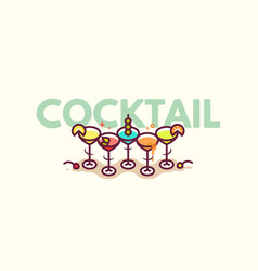 Summer cocktails flat icon vector