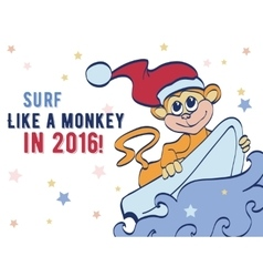 Surfing Holidays New Year Monkey Greeting vector