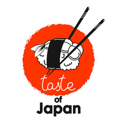 Sushi with shrimp and chopsticks on a red circle vector
