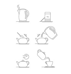tea brewing thin line set vector image