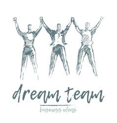 Team people hold hands spirit togetherness vector