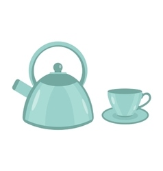 Teapot and cup icon flat style Isolated on vector