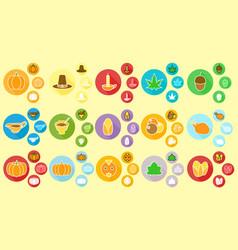 thanksgiving miscellaneous icon flat design vector image