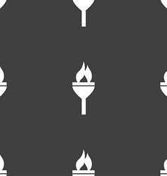 Torch icon sign Seamless pattern on a gray vector image