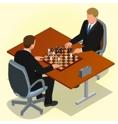 Two CEO playing chess using businessman Business vector
