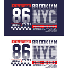 typography nyc 86 t-shirt graphics vector image