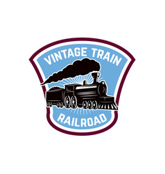 vintage train emblem template with retro vector image