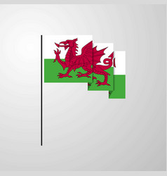 Wales waving flag creative background vector