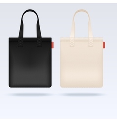 White and black fabric cloth tote bags vector image