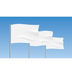 White flags waving on a blue sky background vector image