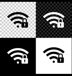 wifi locked icon isolated on black white and vector image