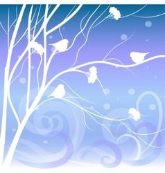 Winter card with bullfinches sitting on rowan vector
