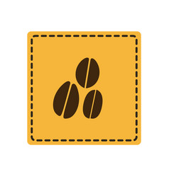 yellow emblem grains coffee icon vector image