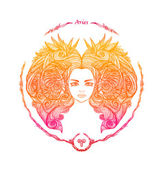zodiac sign portrait a woman aries vector image