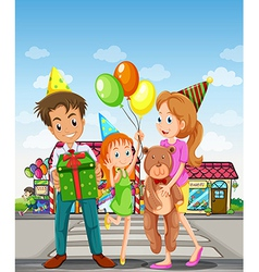 A happy family at the pedestrian lane vector image vector image