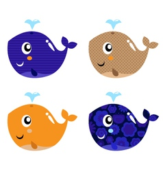Cute abstract whale vector image vector image