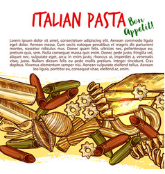 italian pasta shapes poster with spaghetti sketch vector image vector image
