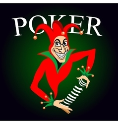 Poker emblem with joker and playing cards vector image