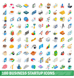 100 business startup icons set isometric 3d style vector image vector image
