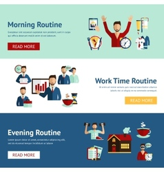 Businessman daily routine concept banners vector image vector image