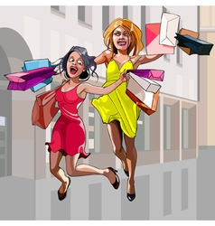 cartoon woman with shopping happily jumping vector image