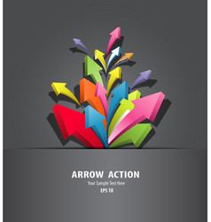 Colorful arrow action in black package vector image