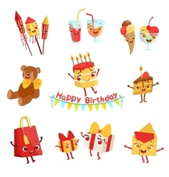 Cute Birthday Party Celebration Things Characters vector image