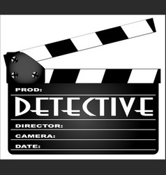 detective clapperboard vector image vector image