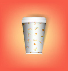 insulated disposable coffee mug realistic paper vector image