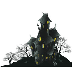 Scary haunted house and trees vector