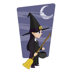 young halloween witch vector image
