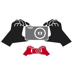 camera in hands icon vector image