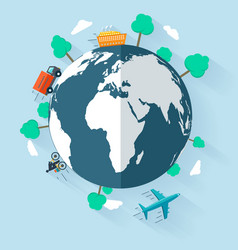 concept delivering goods worldwide flat design vector image