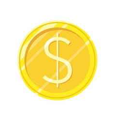 dollar gold coin icon in flat style design vector image vector image