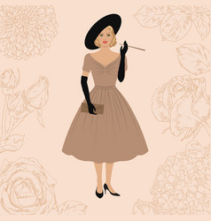 lady in retro style dress vector image