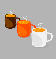 three coffee cups with hot coffee with cream vector image