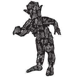 ZOMBIE in pajamas Freehand vector image vector image