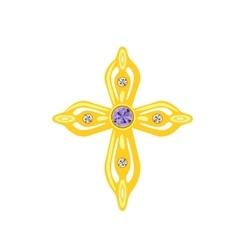 Golden Cross with Diamonds vector image