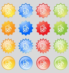 MP3 player headphones music icon sign Set from vector image