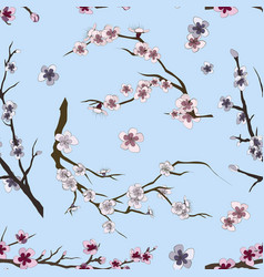 set of sakura japan cherry pattern vector image vector image