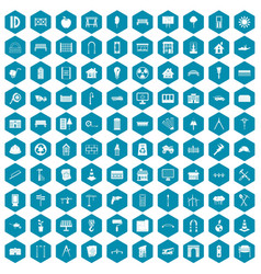 100 architecture icons sapphirine violet vector image