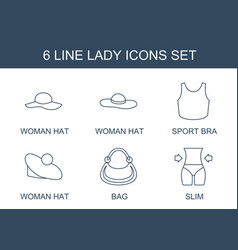6 lady icons vector