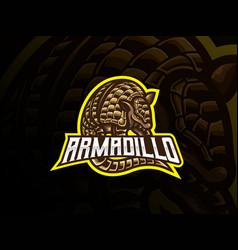 Armadillo mascot sport logo design vector